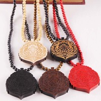 10pcs Lot Lion Head Good Wood Nyc Hip Hop Jewelry 5 Colors Mixed Wooden Necklace Wholesale
