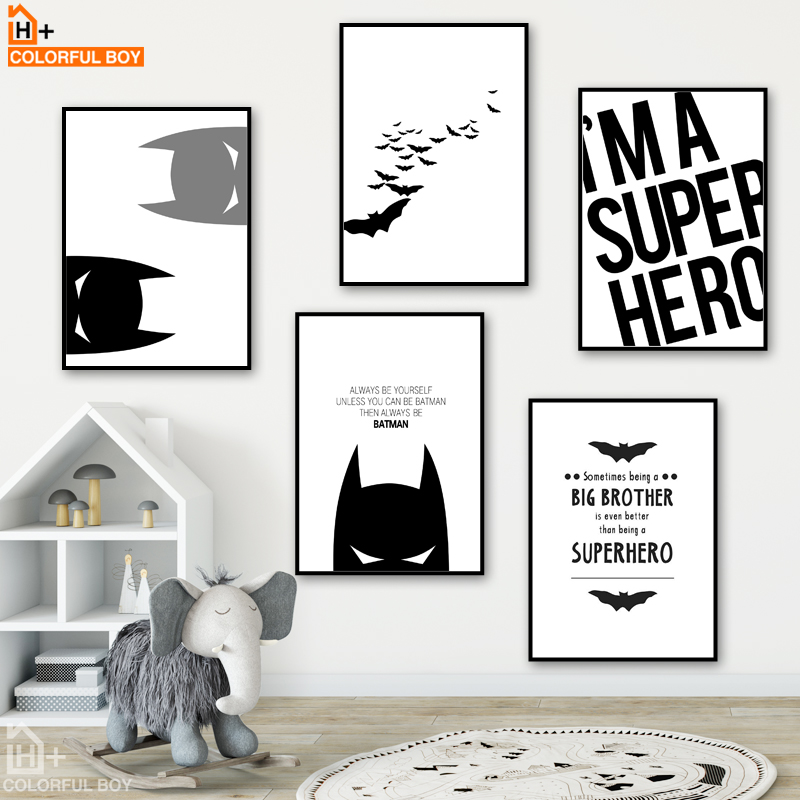 COLORFULBOY Super Hero Batman Modern Black White Wall
