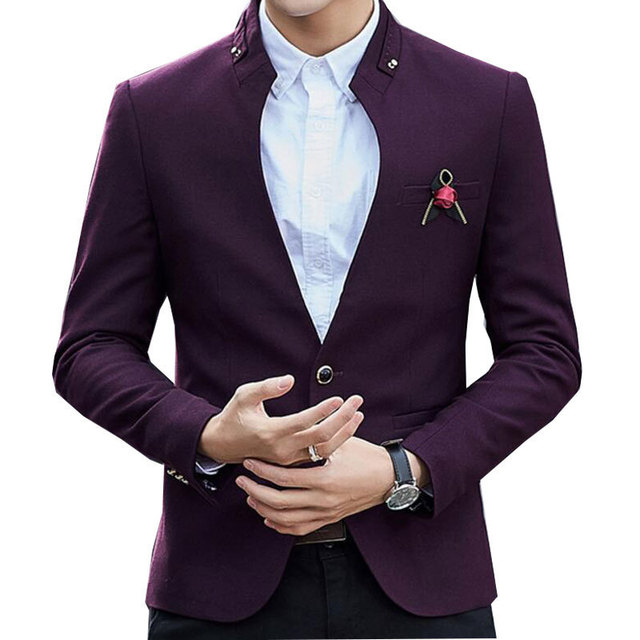 Designer Blazer | Unique Designer Blazer Mandarin Blazer Jacket Wine Red Navy Stylish
