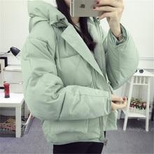 16 Корейской зимой новый конфеты цвет карман пальто утолщенной вниз хлопка мягкий теплый цвет женский BF