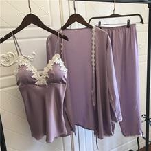 Satin Pyjamas Women 3Pieces Pajamas for Women 2019 Pijama Elegant Sleepwear Female Sexy Lace At All