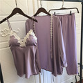 Satin Pyjamas Women 3Pieces <font><b>Pajamas</b></font> for Women 2017 Pijama Elegant Sleepwear Female Sexy Lace At All Seasons Silk <font><b>Pajamas</b></font> <font><b>Set</b></font>