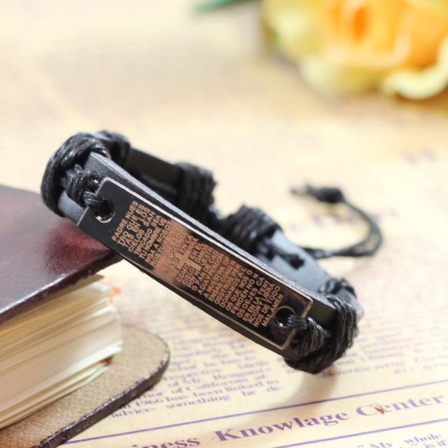 New Hot Fashion Vintage Punk Bible Cross Leather Bracelets Men Bangle Women Jewelry Gifts For 2 Colors Accessories