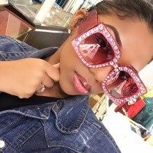 Borde de cristal Mujeres Gafas de Sol Retro 2017 de La Moda de Marca Desginer Rhinestones Cuadrados de Gran Tamaño gafas de Sol Gafas de sol mujer