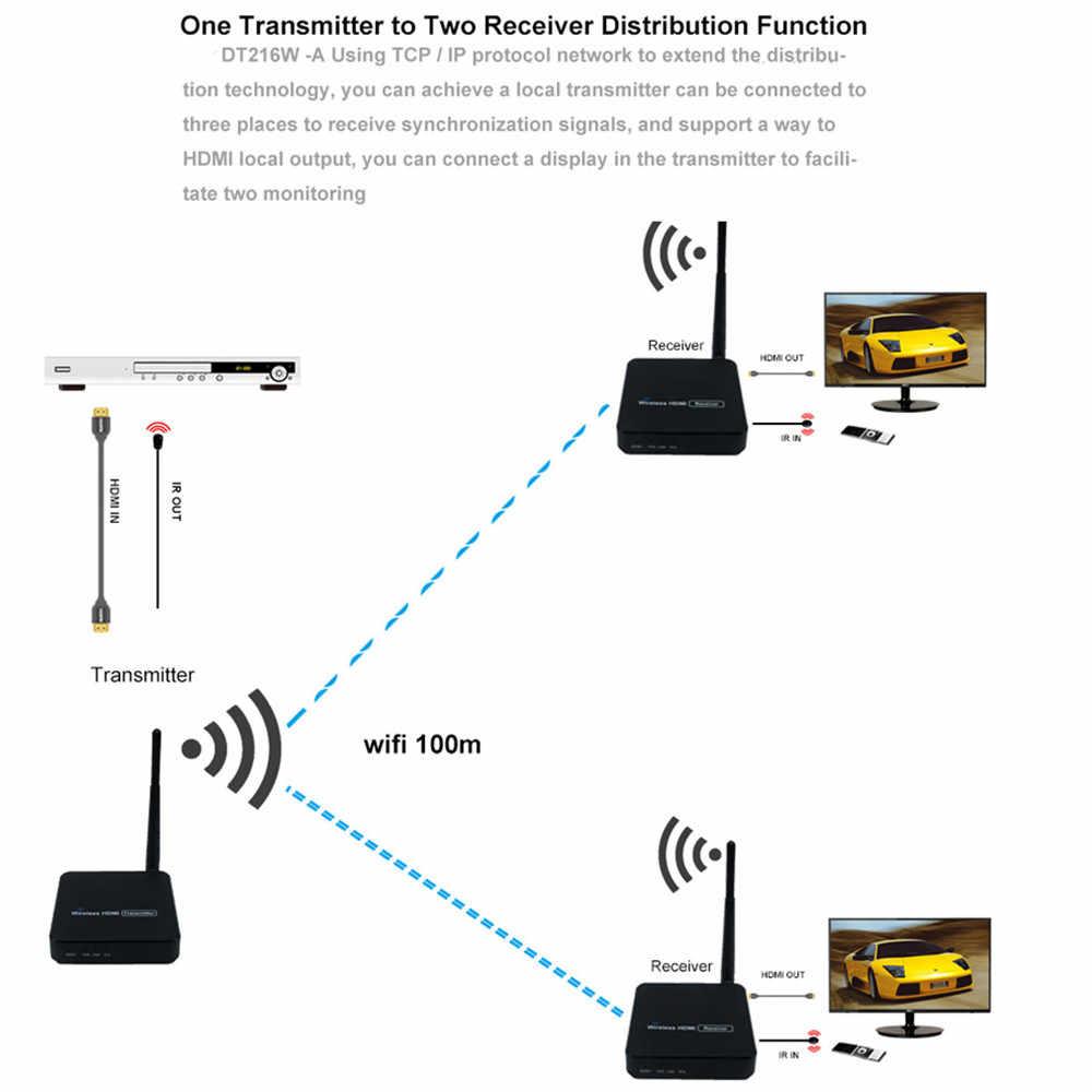 330ft bezprzewodowa transmisja wideo HDMI bezprzewodowy telewizor odbiornik HDMI nadajnik (TX + RX) z zestawem antenowym IR WIFI 100m