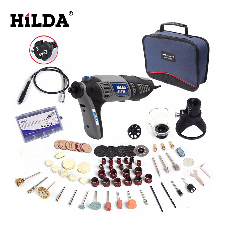 цена на HILDA 220V 180W Variable Speed Dremel Style Rotary Tool Electric Mini Drill With 14pcs Accessories