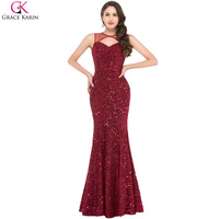 Grace Karin Real Photo Wine Red Luxury Sequins Evening Dresses Long Sexy Red Mermaid Gown Robe De Soiree Sirene Formal Dresses
