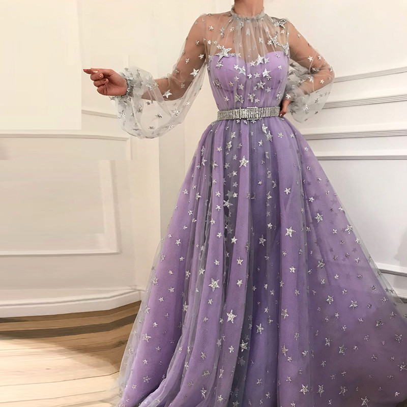 Evening     Dresses   2019 Tulle Long Sleeves Party Gowns Halter Neck Long   Dresses     Evening   Abiye Gece Elbisesi   Dress   For Party