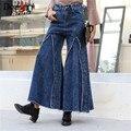 Primavera Outono Mulheres Calças De Pernas Largas Moda Casual Denim calças Largas Nas Pernas calças de Brim Das Mulheres de Cintura Alta tamanho SL