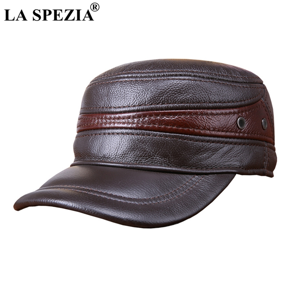 LA SPEZIA Men Military Hat Brown Genuine Cow Leather Flat Top Cap Male  Natural Leather High 08c2ee7b7a7e