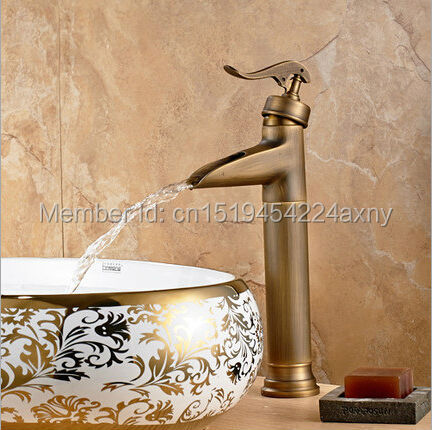 GIZERO Bathroom Vintage Faucet High Quantity Waterfall Mixer Antique Finish Single Handle Single Hole water taps hot & cold GI95GIZERO Bathroom Vintage Faucet High Quantity Waterfall Mixer Antique Finish Single Handle Single Hole water taps hot & cold GI95