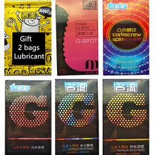 (Gift lubricant * 2 bags) 50 Pcs/set Lubricated Contraception Condoms for Men G-spot Dots Ice & Fire Feeling Condom Sex Products