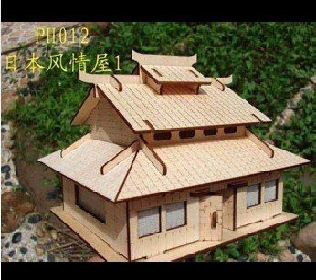 wooden dollhouse villa model wood house european light MW106