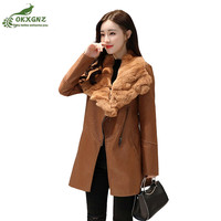 High Quality Leather Jacket Coat Women Winter New Sheepskin Fur One Large Size Increase Velvet Thickening