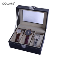 Collare 3 Grids Watches Box PU Leather Watch Storage Organizer Box Holder Fashion Watch Stand Display