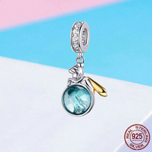 WOSTU 925 Sterling Silver Bead Elf Planet Green Zircon Charms Fit Original Bracelet Pendant Jewelry Making Accessories FNC057