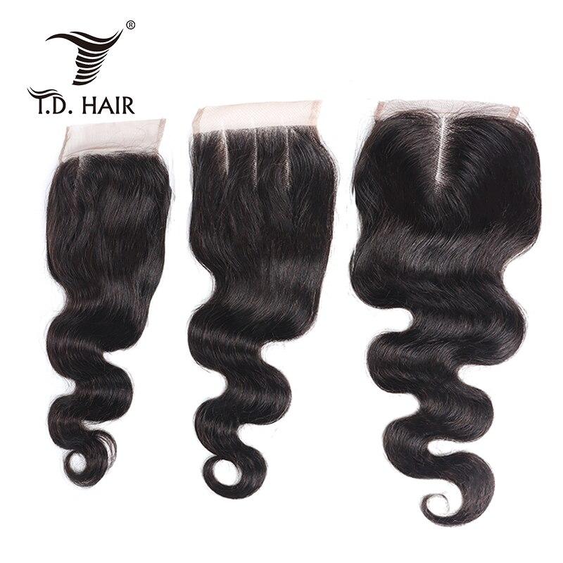 Tdhair Body Wave 4x4 100% Human Hair Body Wave Lace Closure Natural Color Body Wave Lace Closure With Baby Hair