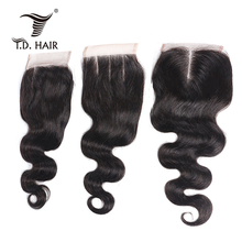 Tdhair-perruque Lace Closure naturelle | Body Wave, 4x4, 100% cheveux humains, Body Wave, couleur naturelle, avec Baby Hair