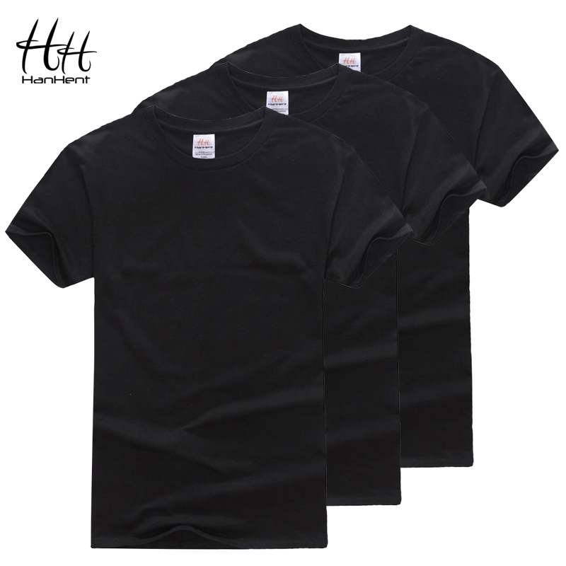 HanHent Cotton Crew neck   T  -  shirt   3-pack Men Plain Black   T     shirt   Solid Basic Tees Mens Fitness Wear Fashion Undershirts Multipack