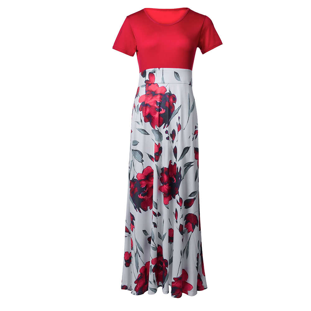 Flor Patchwork Vestido Senhoras Oversize 5XL Litthing Floarl Vestido Longo Plus Size Vestido Maxi Ocasional Vestido de Cintura Alta Vestido de Praia Boho
