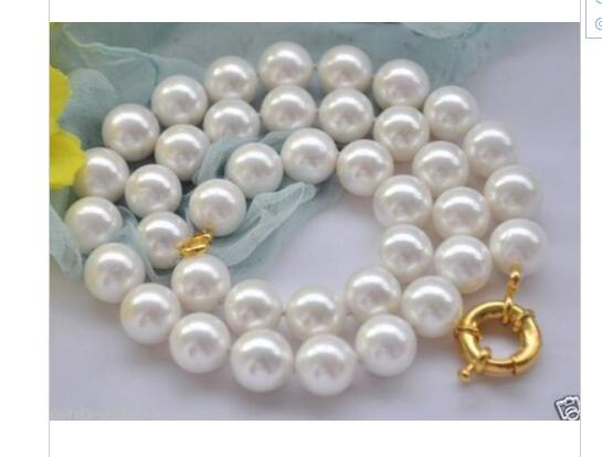 women gift word Jewelry Beautiful AAAA 10-11mm Natural Round White South Sea Shell Pearl Necklace  Clas