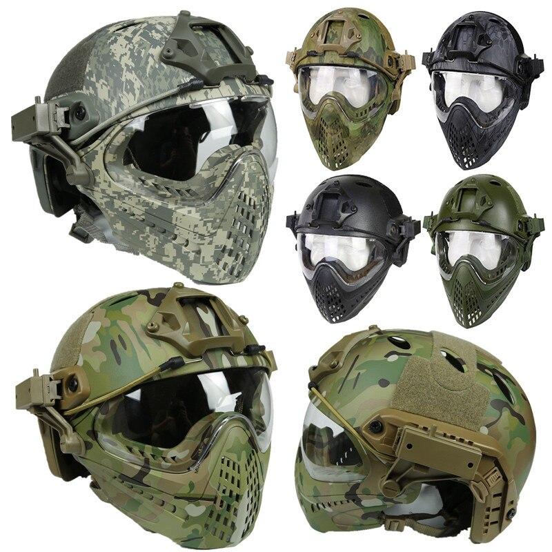 Тактический шлем маска страйкбол Пейнтбол Общий шлем для CS Военный Тактический Защитный Шлем Страйкбол Полная защита лица