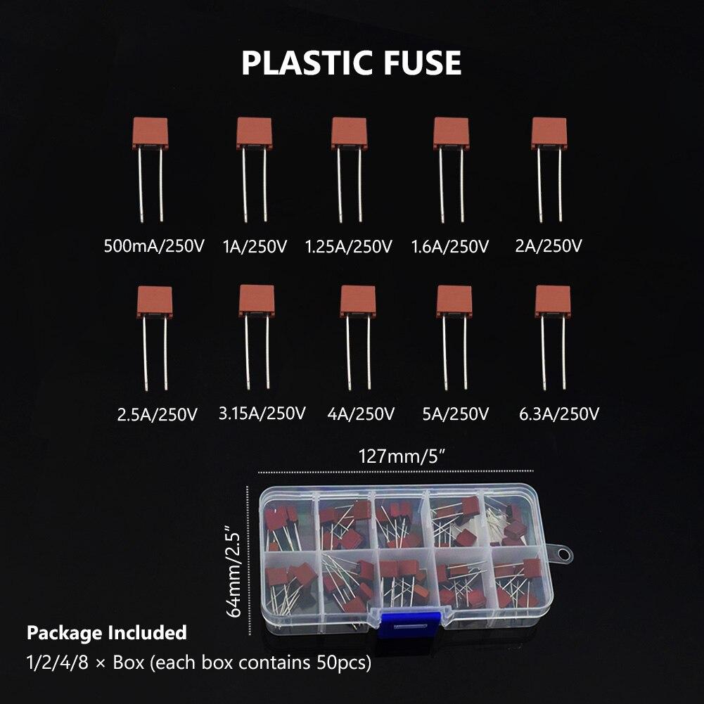 TSLEEN 10 видов 50 шт./кор. квадратный предохранитель Пластик 392 электрические Ассорти предохранитель Mix набор 0.5A 1A 1.25A 1.6A 2A 2.5A 3.15A 4A 5A 6.3A