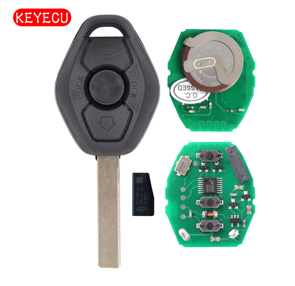 Keyecu EWS Rechargeable Batterie 3 Bouton À Distance Clé FOB 433 mhz Avec ID44 Puce pour BMW 3 5 X série uncut HU92 Lame