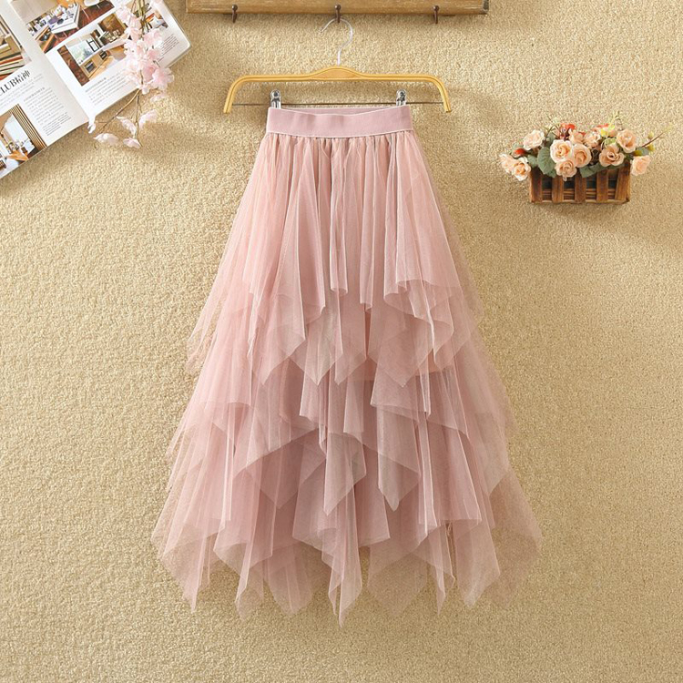Women irregular Tulle Skirts Fashion Elastic High Waist Mesh Tutu Skirt Pleated Long Skirts Midi Skirt Saias Faldas Jupe Femmle 15
