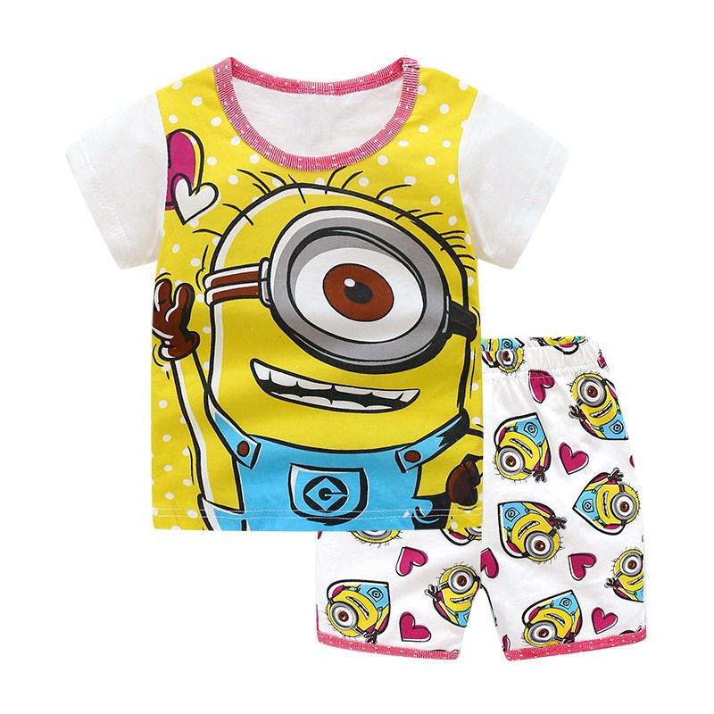 Printed a cute cartoon character baby boys girls summer sets kids new designed top quality short sleeves 2pcs sets hot selling