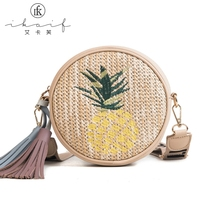 2019 New Mini Round Pineapple Crossbody Bags for Women Summer Embroidery Wide Strap Straw Woven Girls Shoulder Messenger Bags