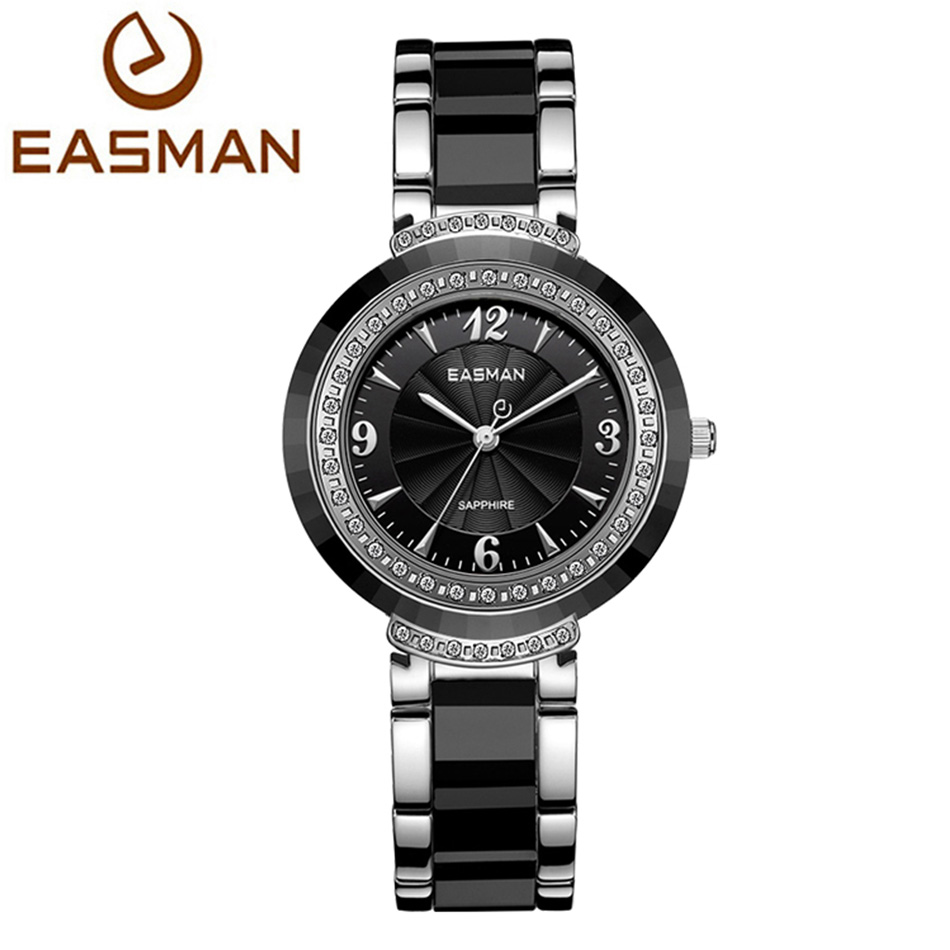 EASMAN Watch Women Ceramic Top Brand Quartz Watch Luxury Calendar Crystal New Fashion Pink Black Watch
