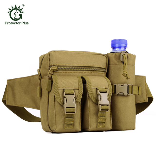 Tactics Men Travel Pocket Hike Climb Belt Water Bottle Travel Waist Pack Molle Woodland Sustainment Lightweight Waist Bag