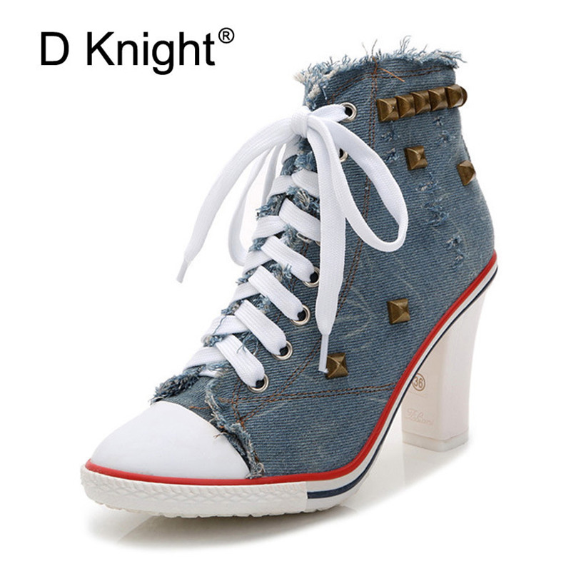 2018 New Autumn Winter Women Boots High Quality Lace up High Heels European Lady Shoes Denim Fashion Rivet Ankle Boots For Women