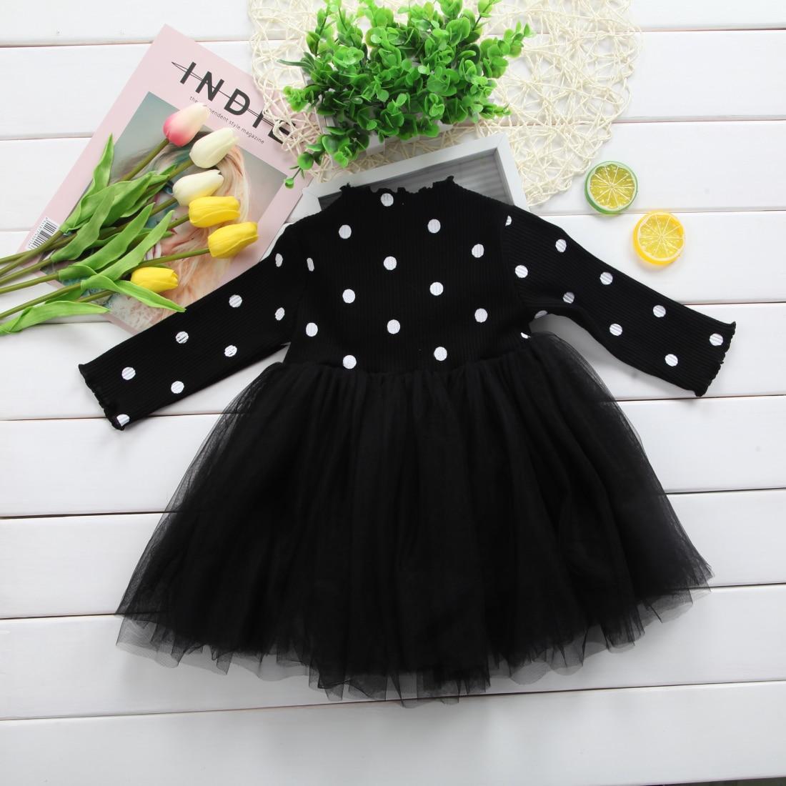 Gauze Dress Set chinatera Baby Girls Clothes Long Sleeve Black Flower Print T-Shirt