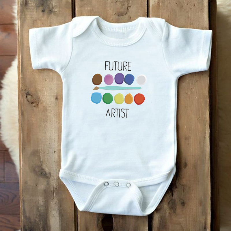 DERMSPE Summer White Letters Newborn Infant Baby Boys Girls Cotton Short Sleeve Future Artist Romper Playsuit Baby Clothes