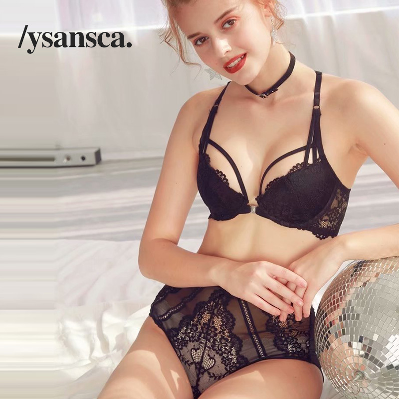 Sexy Lace Push Up Padded   Bras   Gathering Underwear   Set   Women Sexy VS Transparent Lingerie   bra     Set   ABC Cup Front Closure
