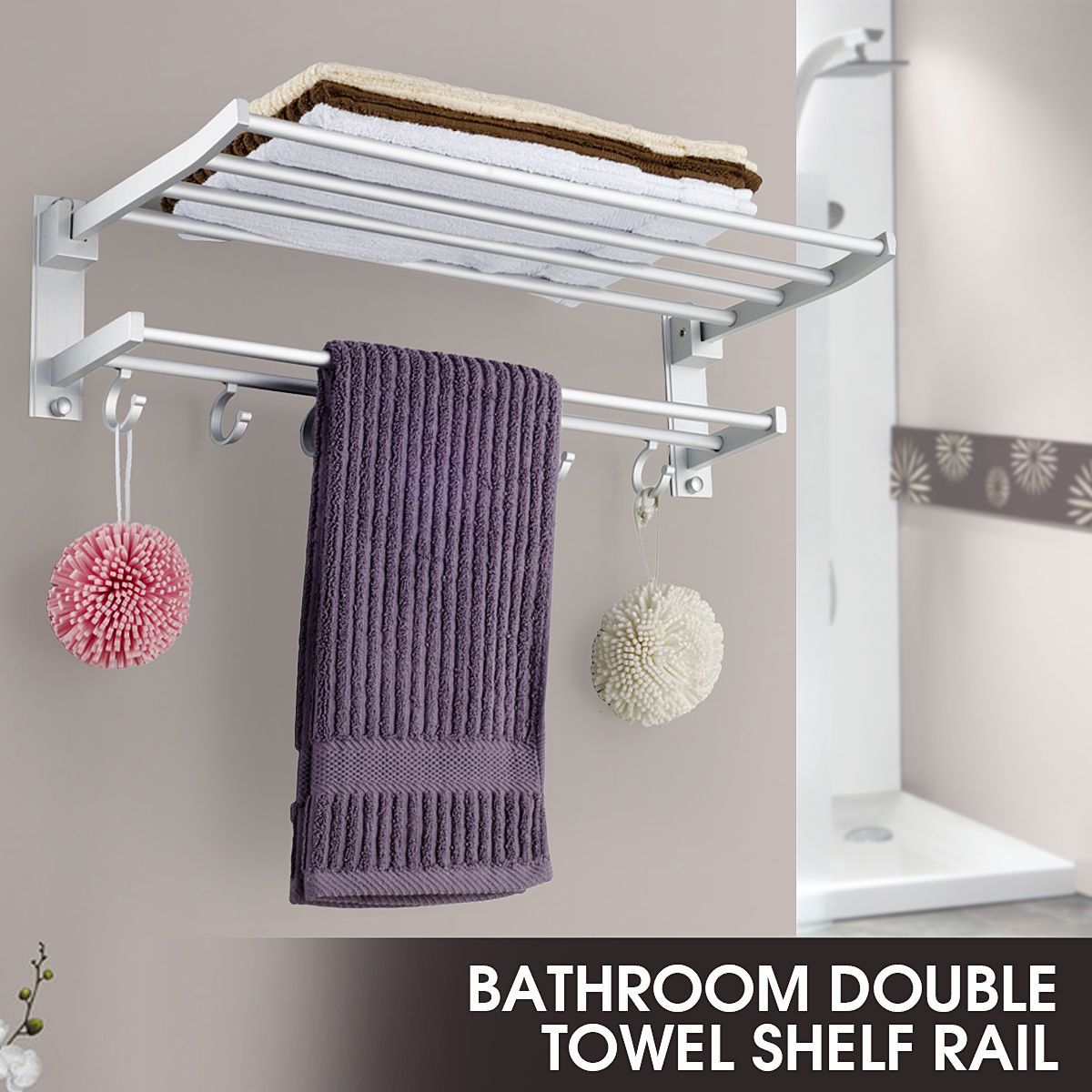 Shelf Towel-Rack-Holder Storage-Hanger Foldable Bathroom Kitchen Alumimum With 5-Hooks