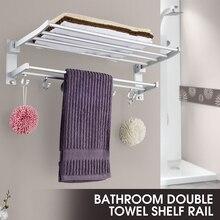 Алюминиевый складной держатель для полотенец для ванной комнаты, вешалка для хранения, кухонное полотенце для отеля, полка для одежды с 5 крючками