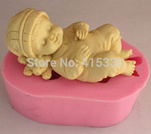 Sleep baby silicone mold for fimo resin polymer clay fondant cake chocolate