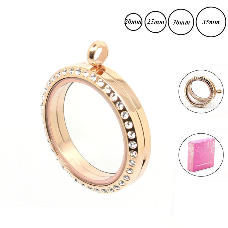 Grosir rose gold Warna 20mm 25mm 30mm 35mm Magnetic 316L stainless steel mengambang liontin liontin