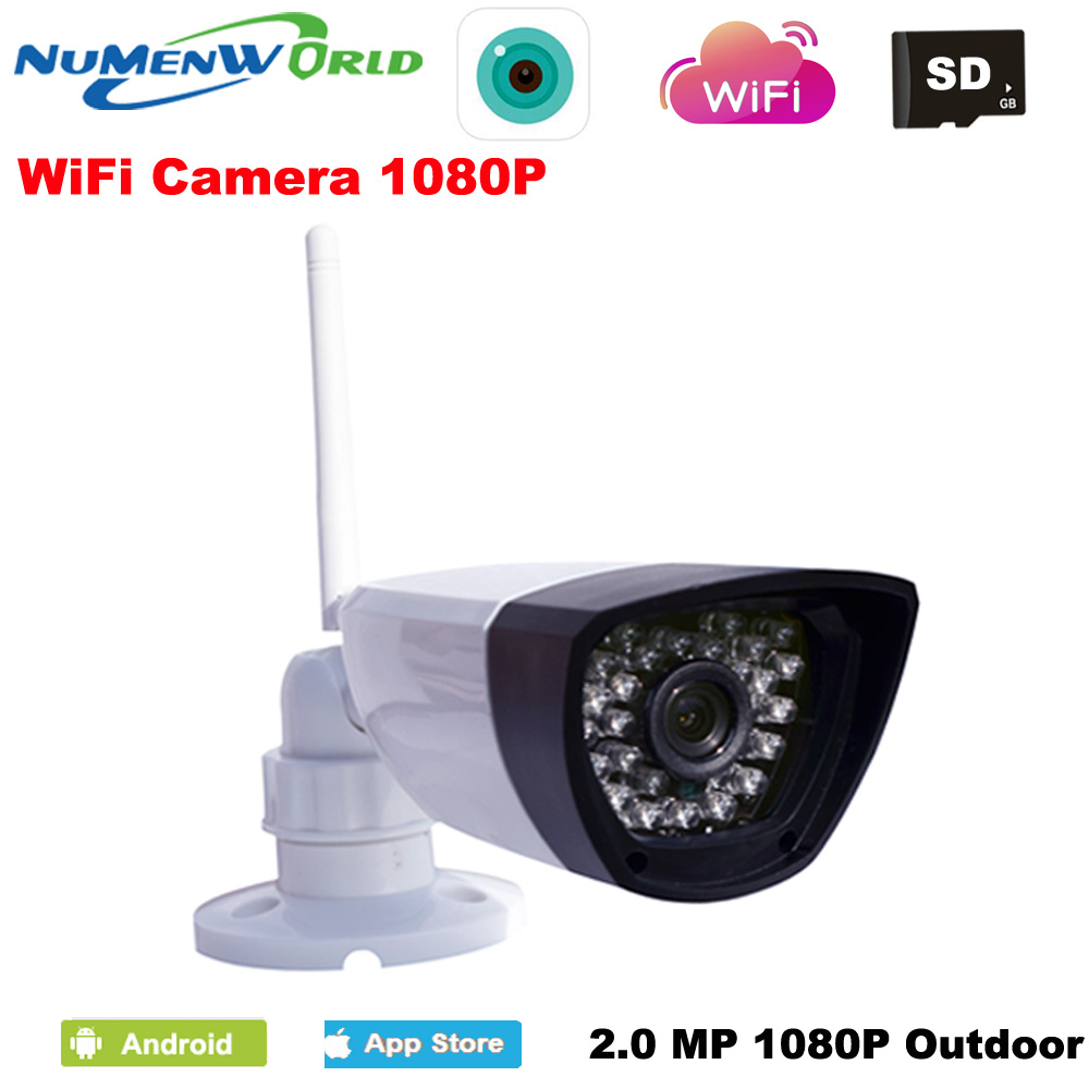 NumenWorld Outdoor Waterproof Wifi IP camera 1080P Micro SD HD P2P 802.11b/g/n Wireless network Wired IP webcam IR CCTV camera|Surveillance Cameras| |  - title=