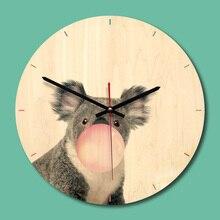 11 Inches Modern Cartoon Animals Design Wooden 3D Wall Clock