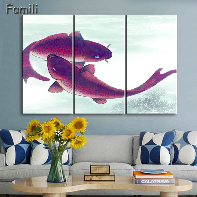3Piece Koi Fish Wall Art Chinese Painting Wall Art On Canvas Home Decor  Modern Wall Picture