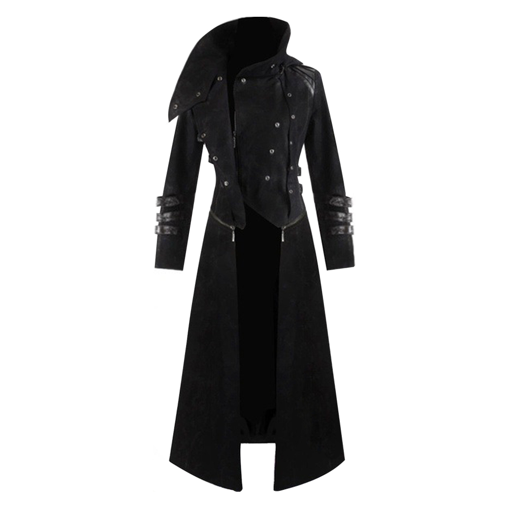 Fashion Men's Vintage Medieval Gothic trench Coat Solid Color Steampunk Jacket Victorian Frock Coat Costume performance clothing