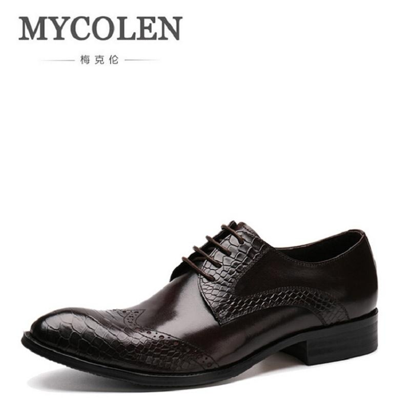 MYCOLEN Men Business Leather Derby Shoes High Quality Formal Dress Shoes Man Pointed Toe Brogue Carved Shoes For Office