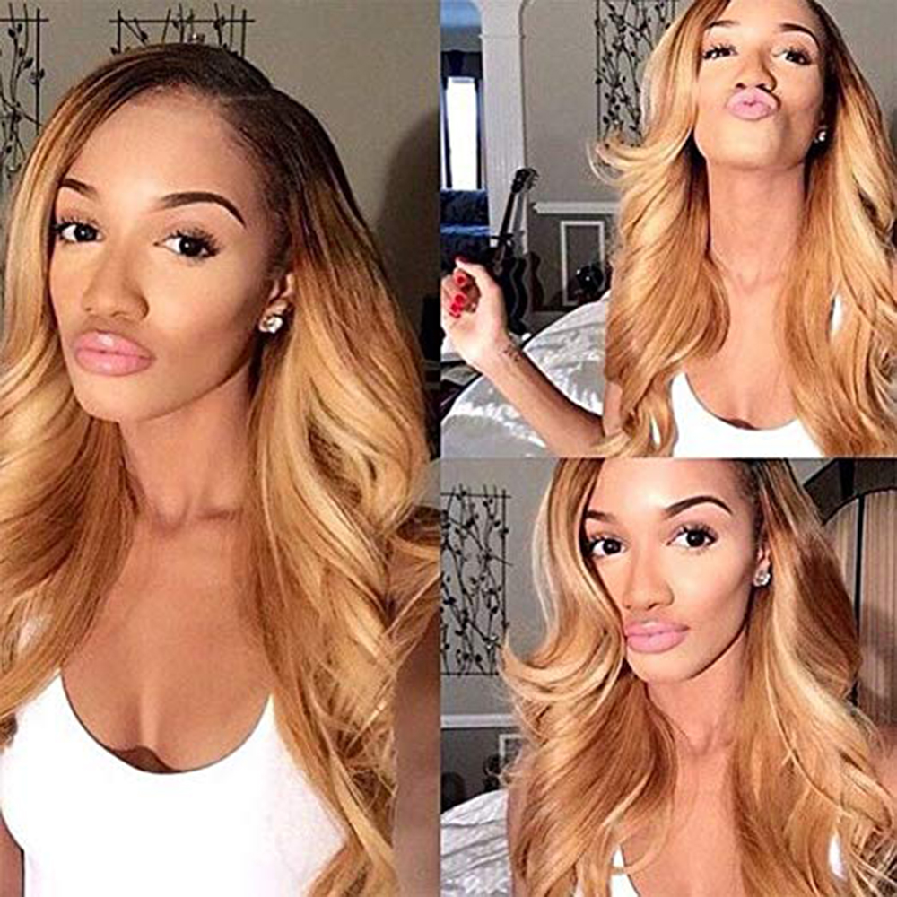 SimBeauty 1B 27 360 Lace Frontal Wig Peruvian Body Wave Remy Ombre Honey Blonde Human Hair Wigs Pre Plucked Lace Front Wig