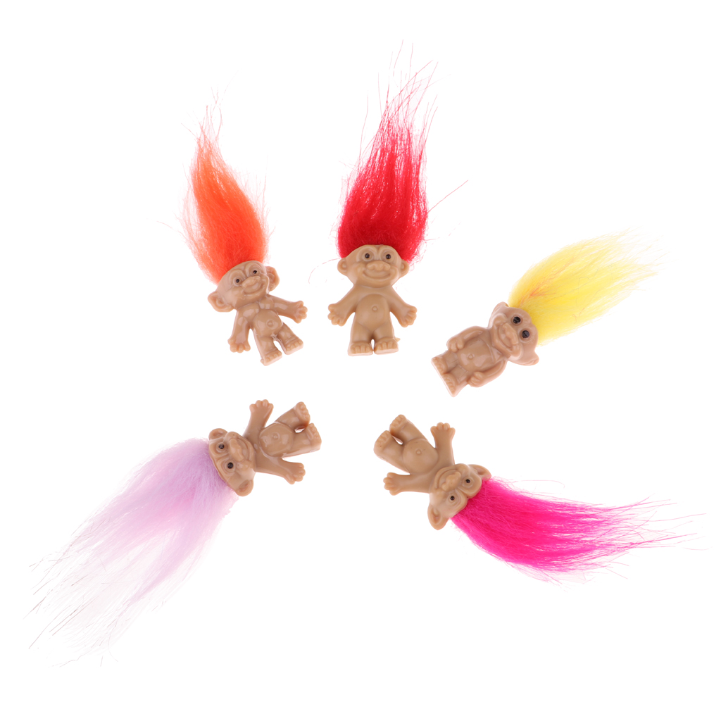 Chromatic 5 Pieces Lucky Troll Doll Mini Action Figures Toy Cake Decorations