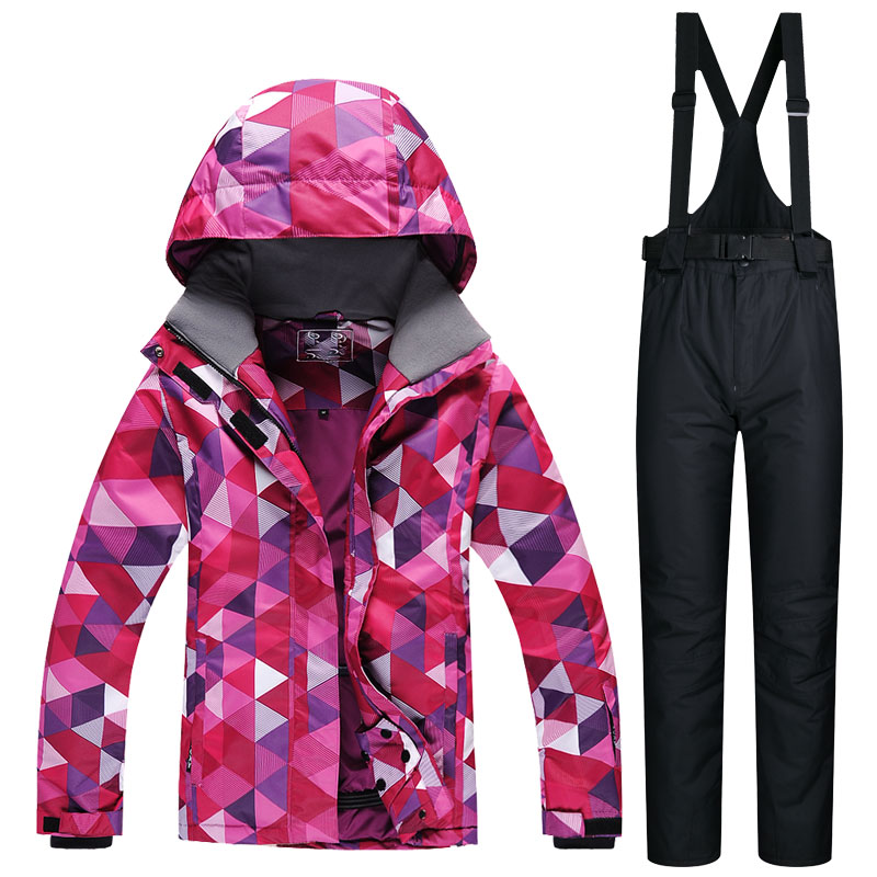 Ski Suit Female Windproof Waterproof Thicken Clothes For Women Snowboard Jacket And Pants Brand Coat And Trousers Winter Wear ski jacket and pants suit hiking camping climbing waterproof windproof thermal thicken coat and trousers set 2017 winter men