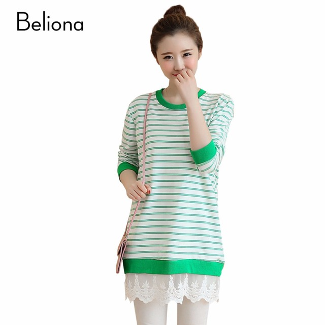 Plus Size Maternity Tops T-shirts for Pregnant Women Green Stripe Pregnancy T shirts Loose Casual Maternity Clothes Clothing